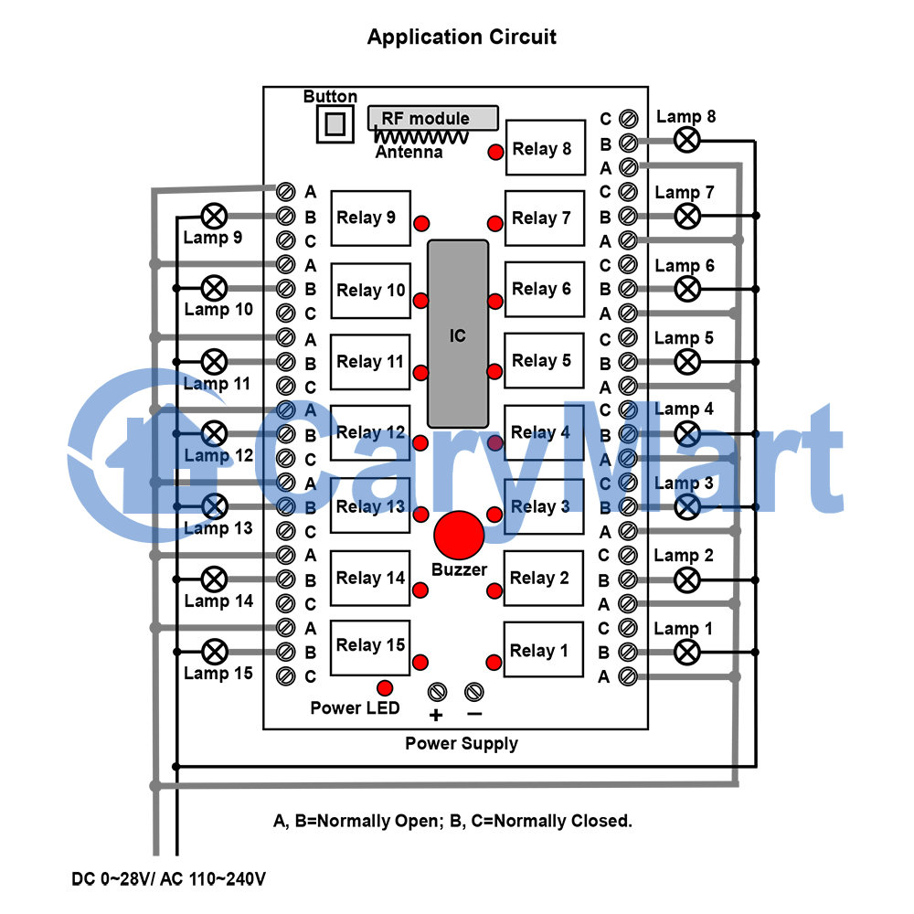15 Channel Normally open and normally closed Relay DC 9V 12V