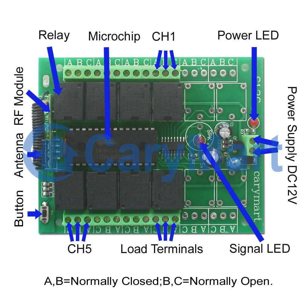 Wireless Rf Remote Control Circuit Diagram | 8 Channel Long Range Rf Receiver Controller Dc Power 0020352 S8ca