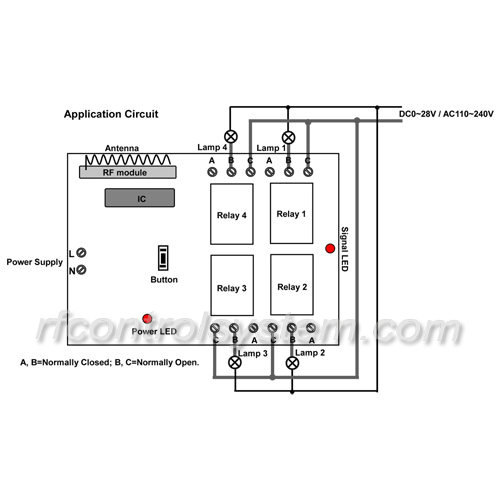 4 channel 10a 110v 220v rf wireless remote control switch for home manual
