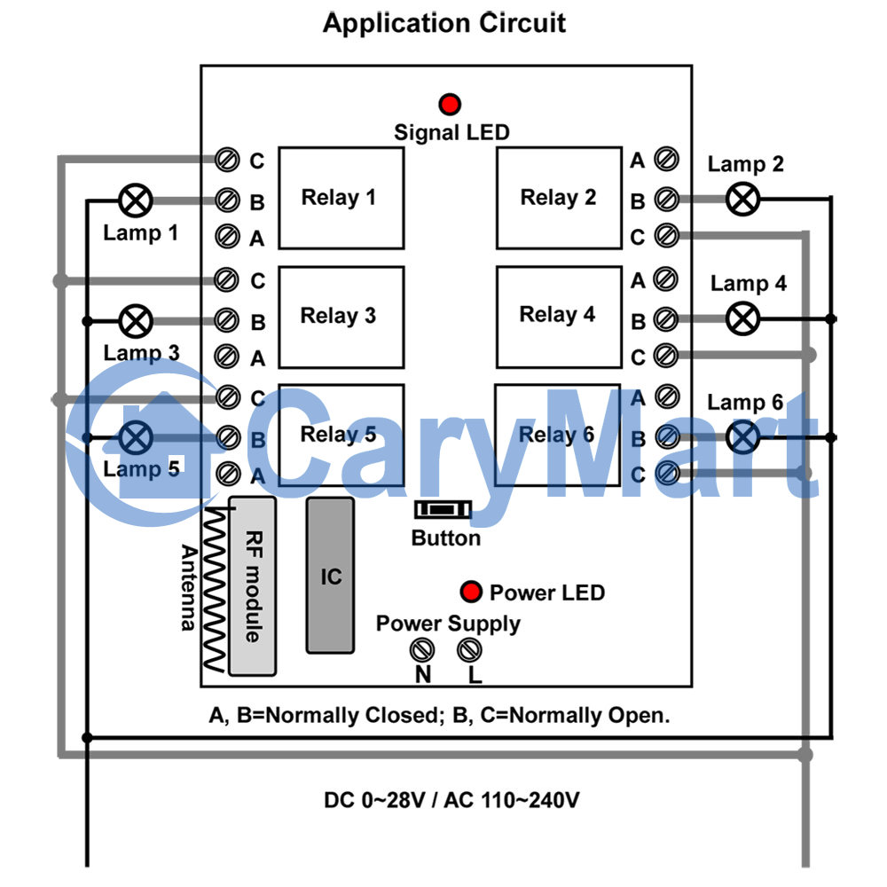 Remote Control 12v Dc Switch Wiring Diagram Diy Diagrams Ac 3 Prong Rocker 6ch 220v Wireless On Off Controller Receiver 10a 0020451 S6c Rh Rfcontrolsystem Com Starter Simple 12 Volt Relay For